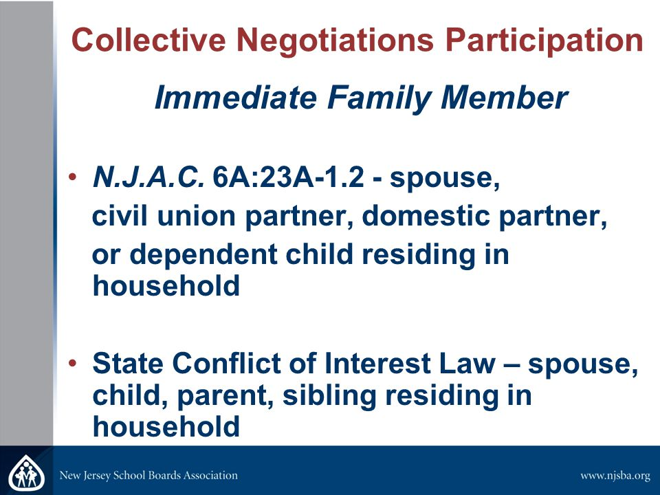 Collective Negotiations Participation Immediate Family Member N.J.A.C.
