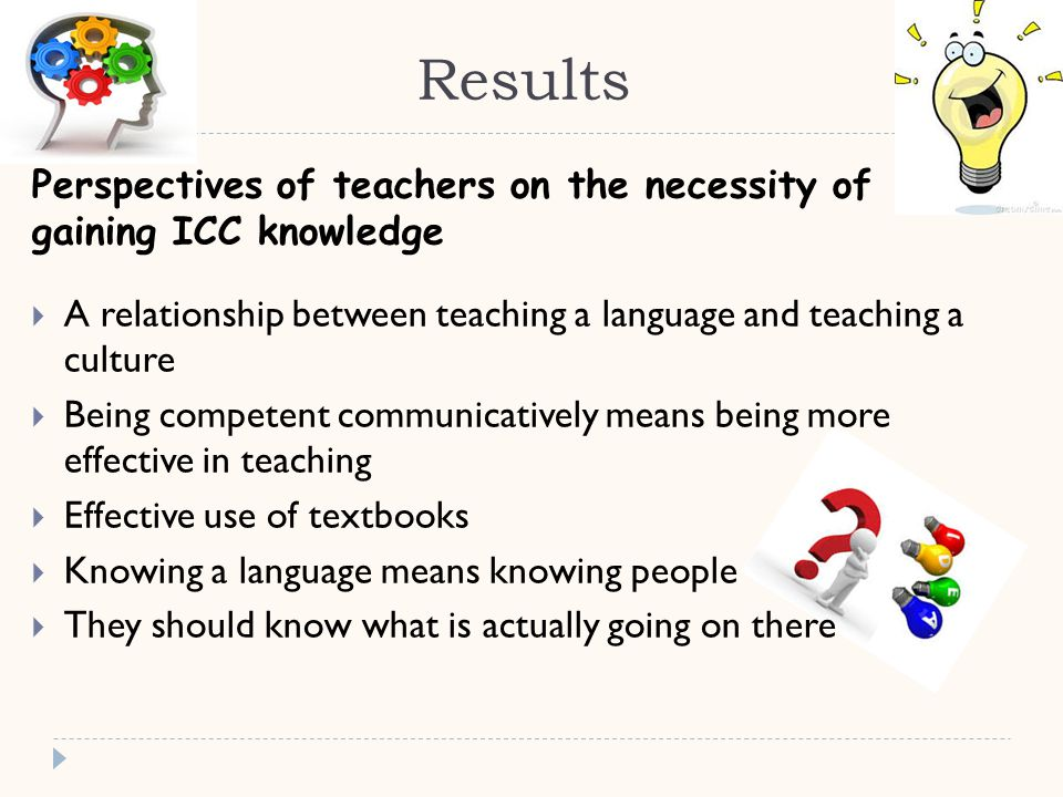 Results Perspectives of teachers on the necessity of gaining ICC knowledge  A relationship between teaching a language and teaching a culture  Being competent communicatively means being more effective in teaching  Effective use of textbooks  Knowing a language means knowing people  They should know what is actually going on there