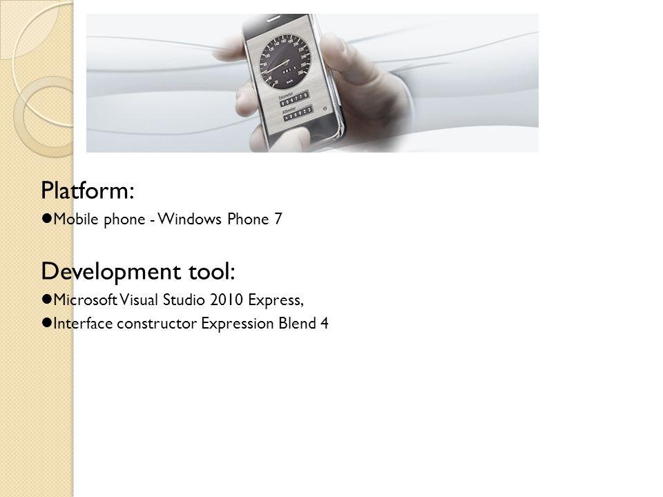 Platform: Mobile phone - Windows Phone 7 Development tool: Microsoft Visual Studio 2010 Express, Interface constructor Expression Blend 4