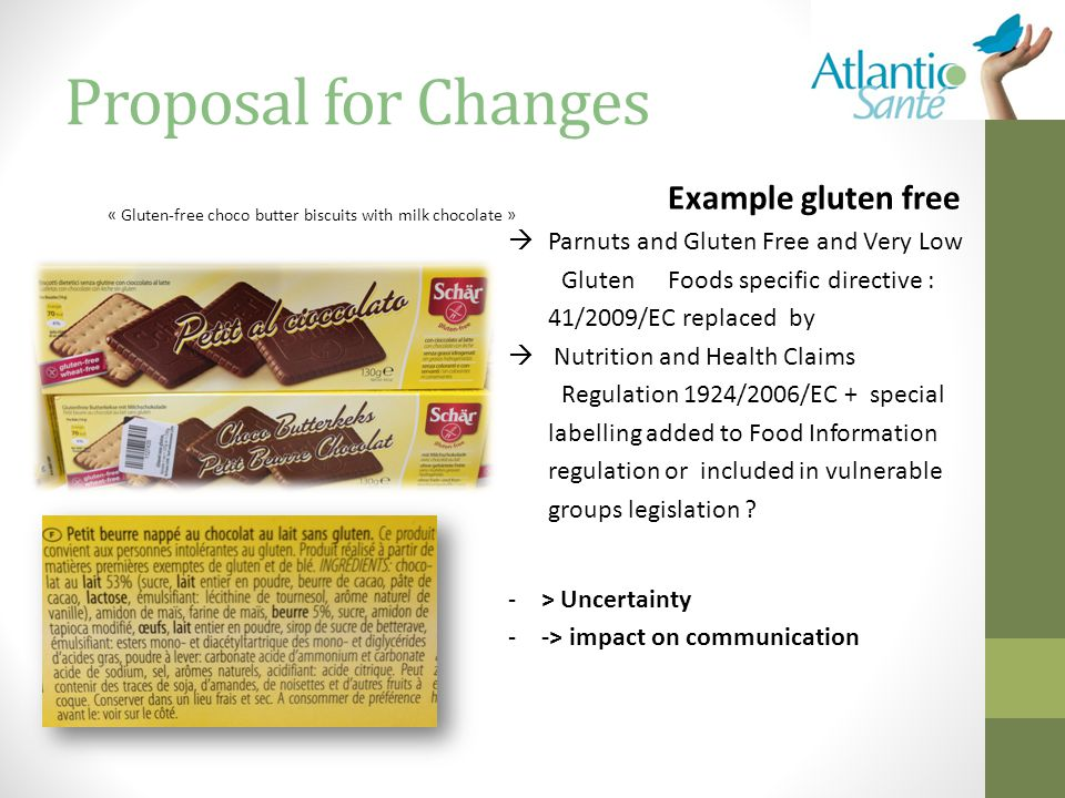 Proposal for Changes Example gluten free  Parnuts and Gluten Free and Very Low GlutenFoods specific directive : 41/2009/EC replaced by  Nutrition and Health Claims Regulation 1924/2006/EC + special labelling added to Food Information regulation or included in vulnerable groups legislation .