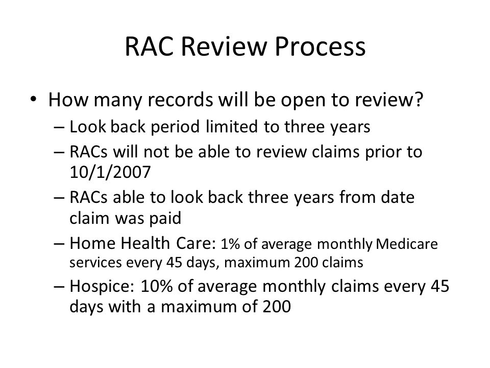 RAC Review Process How many records will be open to review.