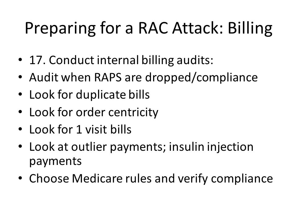 Preparing for a RAC Attack: Billing 17.