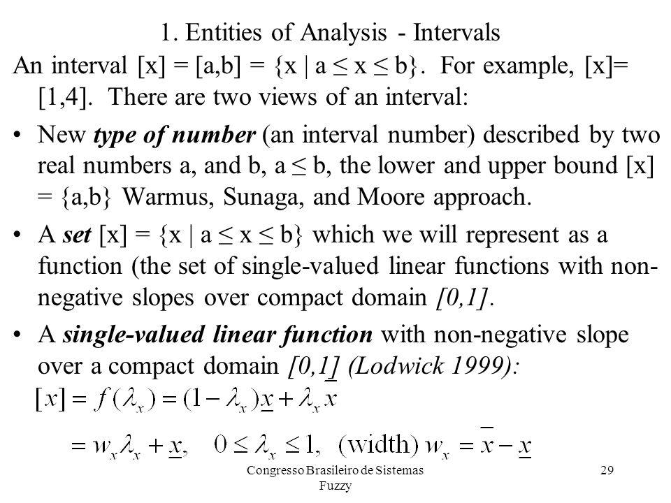 1. Entities of Analysis - Intervals 29 An interval [x] = [a,b] = {x | a ≤ x ≤ b}.