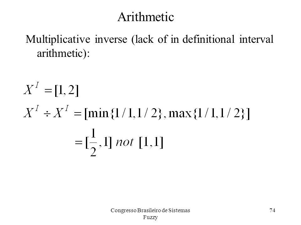 74 Arithmetic Multiplicative inverse (lack of in definitional interval arithmetic): Congresso Brasileiro de Sistemas Fuzzy