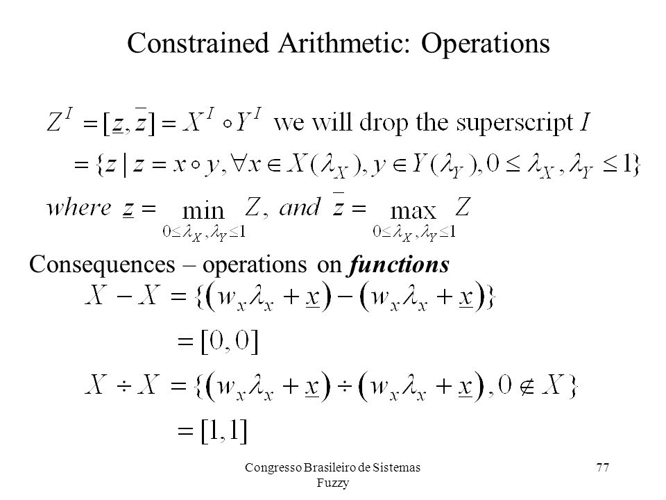 77 Constrained Arithmetic: Operations Consequences – operations on functions Congresso Brasileiro de Sistemas Fuzzy