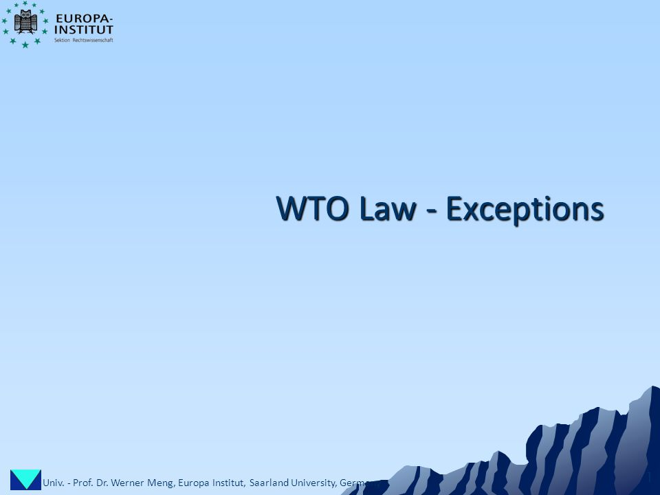 Univ. - Prof. Dr. Werner Meng, Europa Institut, Saarland University, Germany 1 WTO Law - Exceptions