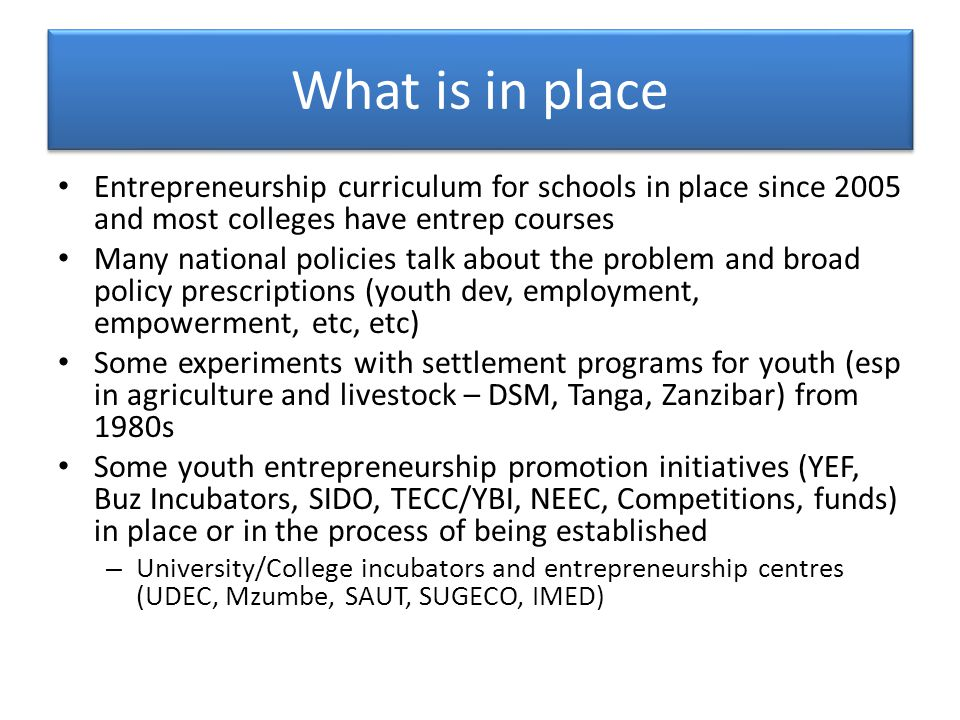 What is in place Entrepreneurship curriculum for schools in place since 2005 and most colleges have entrep courses Many national policies talk about the problem and broad policy prescriptions (youth dev, employment, empowerment, etc, etc) Some experiments with settlement programs for youth (esp in agriculture and livestock – DSM, Tanga, Zanzibar) from 1980s Some youth entrepreneurship promotion initiatives (YEF, Buz Incubators, SIDO, TECC/YBI, NEEC, Competitions, funds) in place or in the process of being established – University/College incubators and entrepreneurship centres (UDEC, Mzumbe, SAUT, SUGECO, IMED)