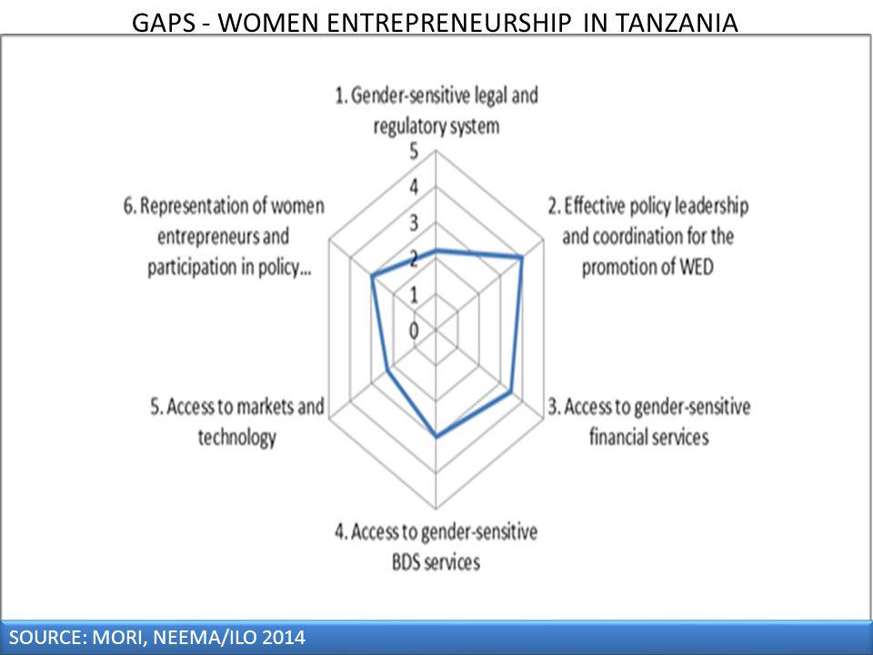 SOURCE: MORI, NEEMA/ILO 2014 GAPS - WOMEN ENTREPRENEURSHIP IN TANZANIA