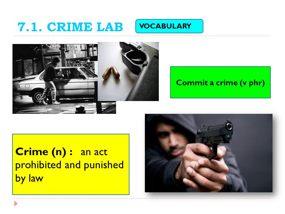 7.1. CRIME LAB VOCABULARY Crime (n) : an act prohibited and punished by law Commit a crime (v phr)