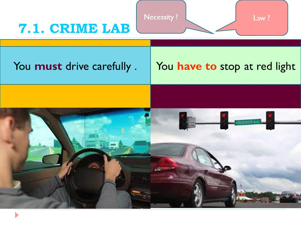 7.1. CRIME LAB Law ? Necessity ? You have to stop at red lightYou must drive carefully.