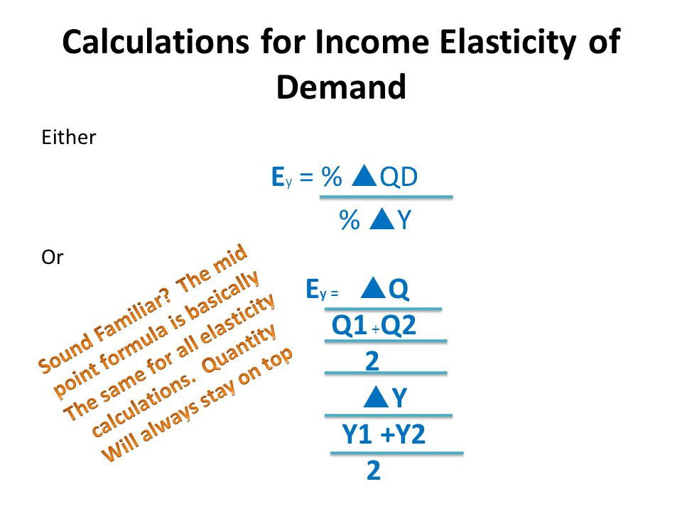 Calculations for Income Elasticity of Demand Either E y = %  QD %  Y Or E y =  Q Q1 + Q2 2  Y Y1 +Y2 2