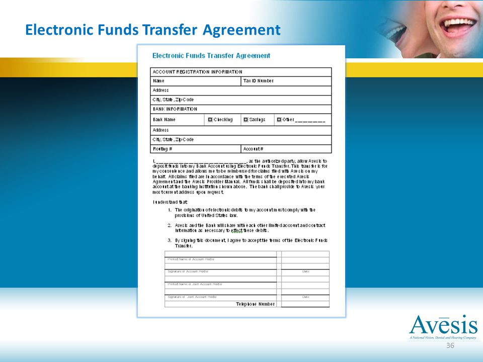 36 Electronic Funds Transfer Agreement