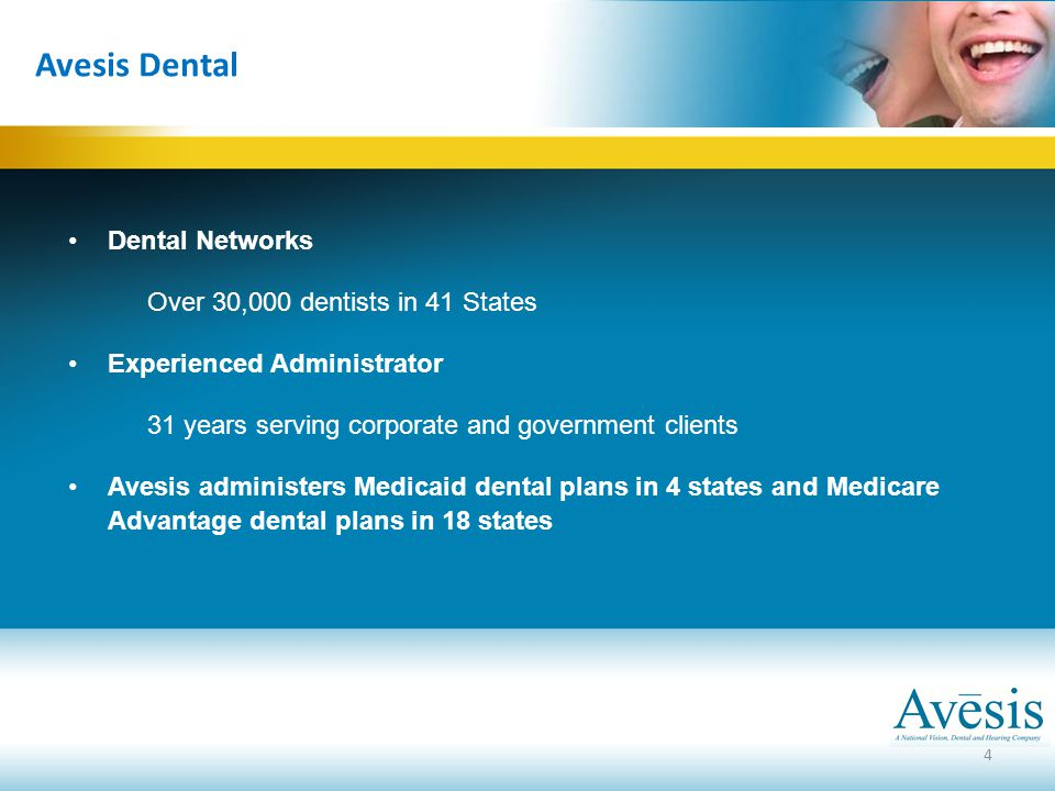 Dental Networks Over 30,000 dentists in 41 States Experienced Administrator 31 years serving corporate and government clients Avesis administers Medic