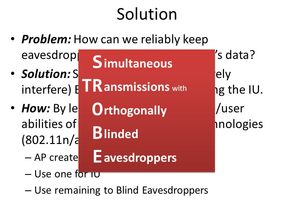 Solution Problem: How can we reliably keep eavesdroppers from decoding the IU's data.