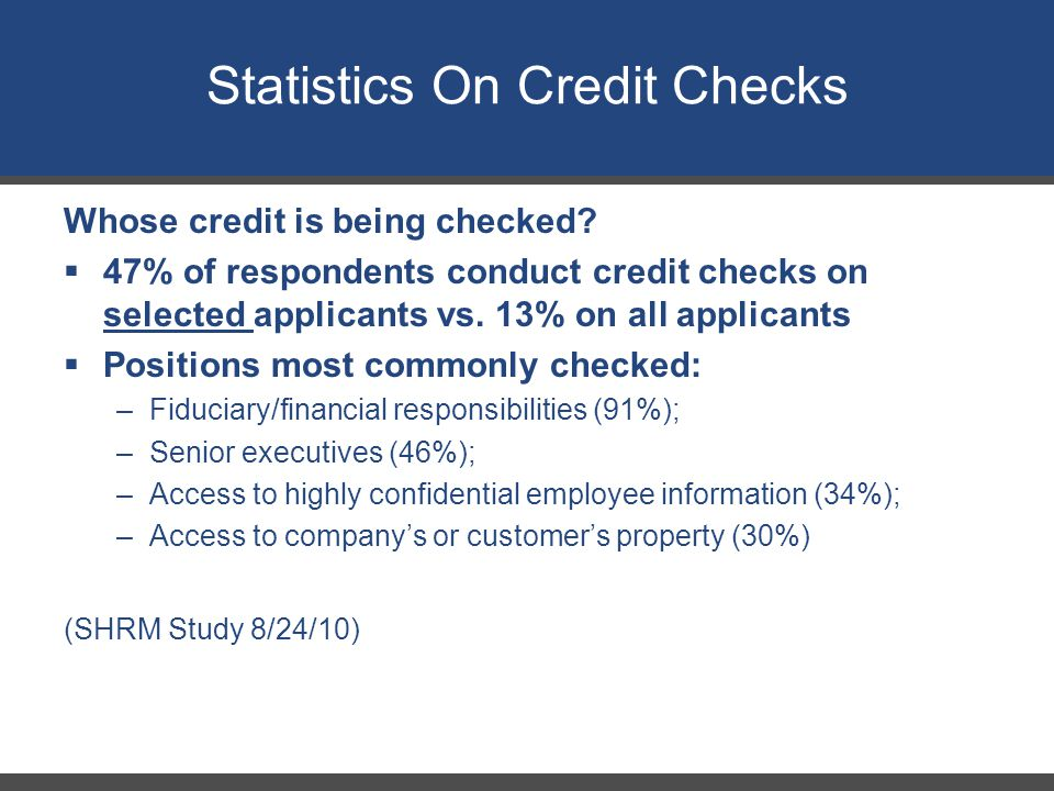 Statistics On Credit Checks Whose credit is being checked.