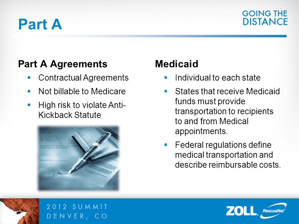 Part A Part A Agreements  Contractual Agreements  Not billable to Medicare  High risk to violate Anti- Kickback Statute Medicaid  Individual to ea