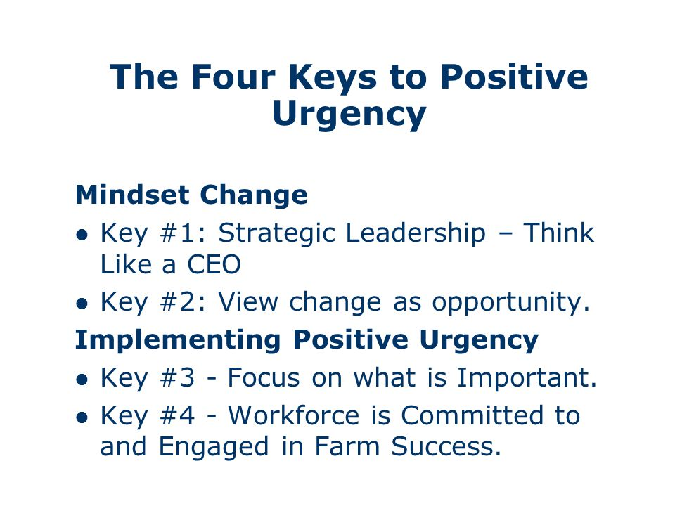 The Four Keys to Positive Urgency Mindset Change Key #1: Strategic Leadership – Think Like a CEO Key #2: View change as opportunity.