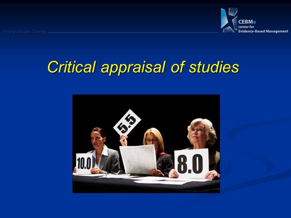 Postgraduate Course Critical appraisal of studies
