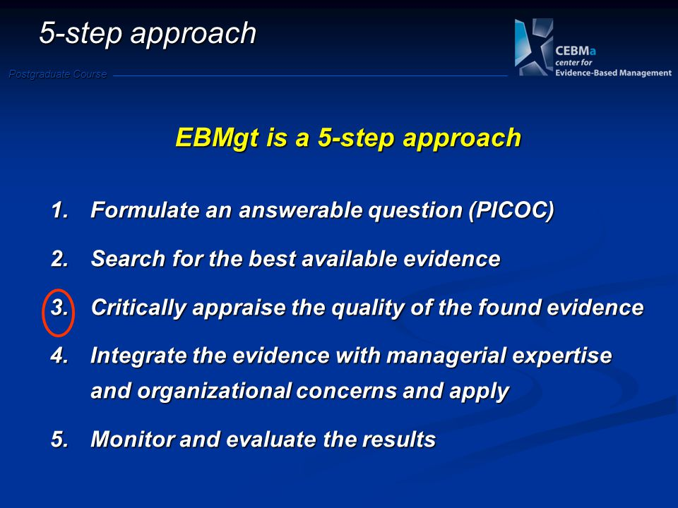 Postgraduate Course 5-step approach EBMgt is a 5-step approach 1.Formulate an answerable question (PICOC) 2.Search for the best available evidence 3.Critically appraise the quality of the found evidence 4.Integrate the evidence with managerial expertise and organizational concerns and apply 5.Monitor and evaluate the results