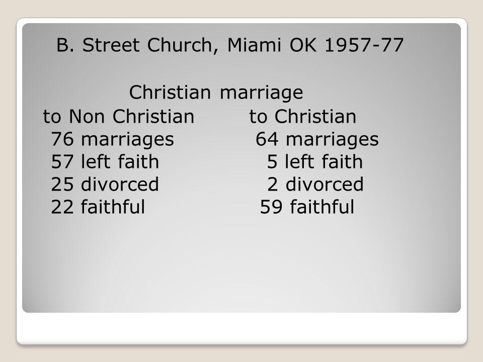 B. Street Church, Miami OK 1957-77 Christian marriage to Non Christian to Christian 76 marriages 64 marriages 57 left faith 5 left faith 25 divorced 2