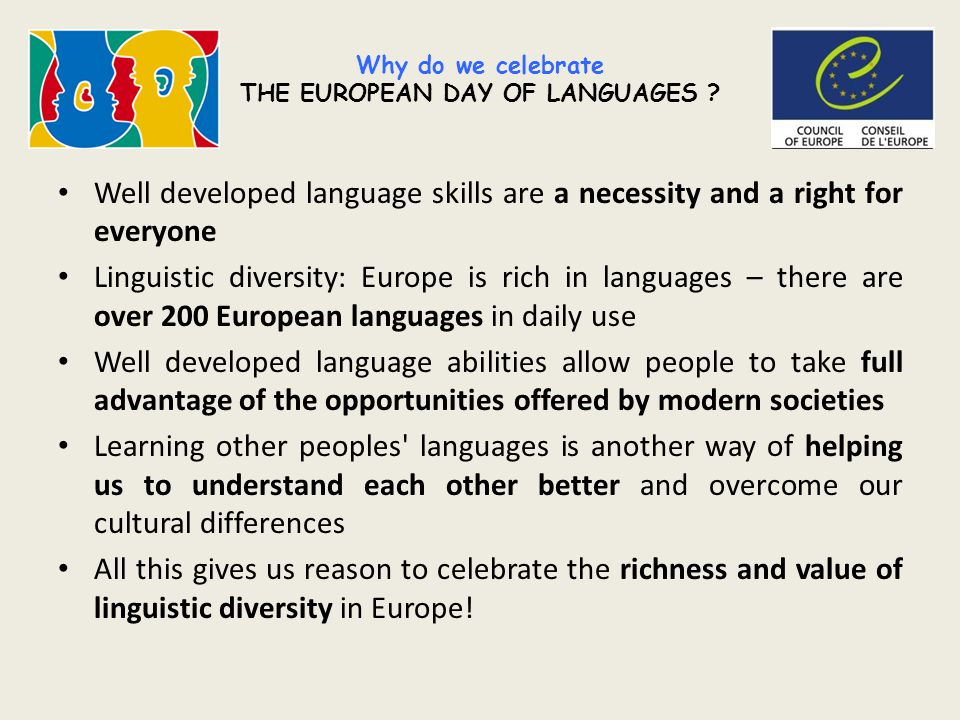 Why do we celebrate THE EUROPEAN DAY OF LANGUAGES .