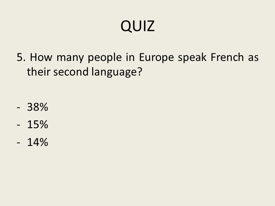 QUIZ 5. How many people in Europe speak French as their second language? -38% -15% -14%