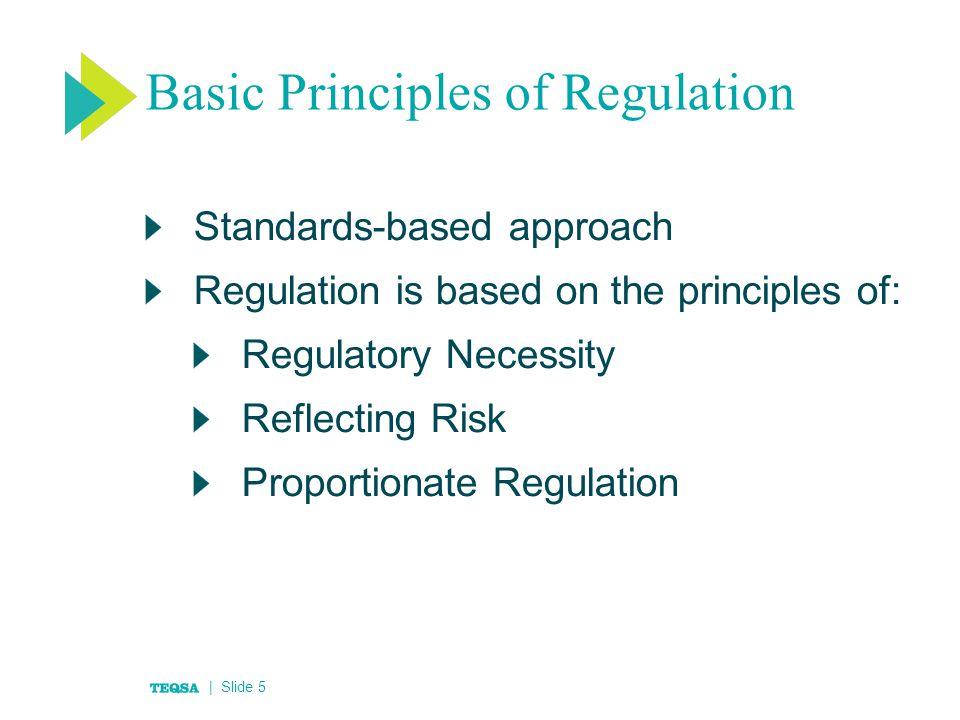 Basic Principles of Regulation Standards-based approach Regulation is based on the principles of: Regulatory Necessity Reflecting Risk Proportionate Regulation | Slide 5