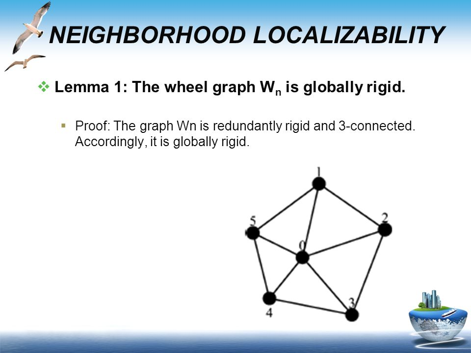 NEIGHBORHOOD LOCALIZABILITY  Lemma 1: The wheel graph W n is globally rigid.