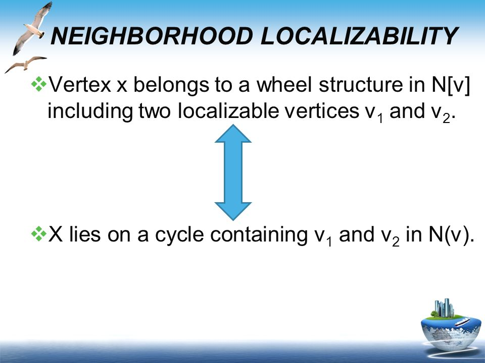  Vertex x belongs to a wheel structure in N[v] including two localizable vertices v 1 and v 2.