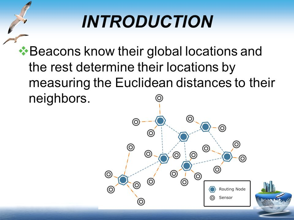 INTRODUCTION  Beacons know their global locations and the rest determine their locations by measuring the Euclidean distances to their neighbors.