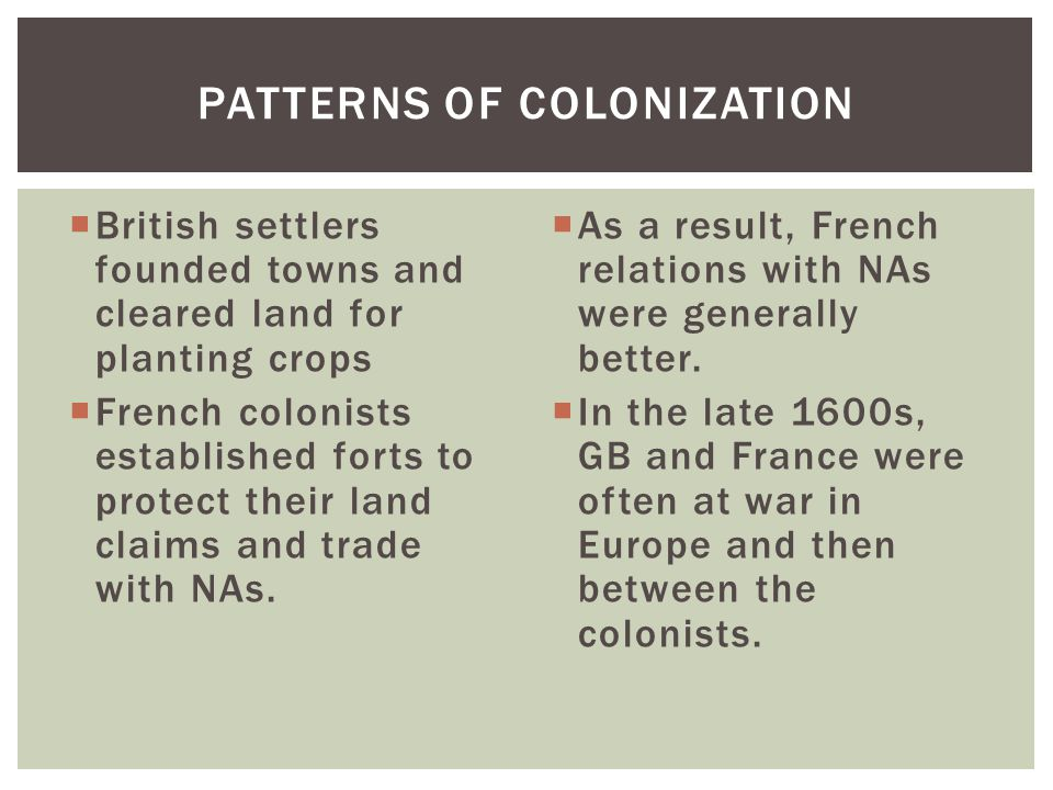  British settlers founded towns and cleared land for planting crops  French colonists established forts to protect their land claims and trade with NAs.