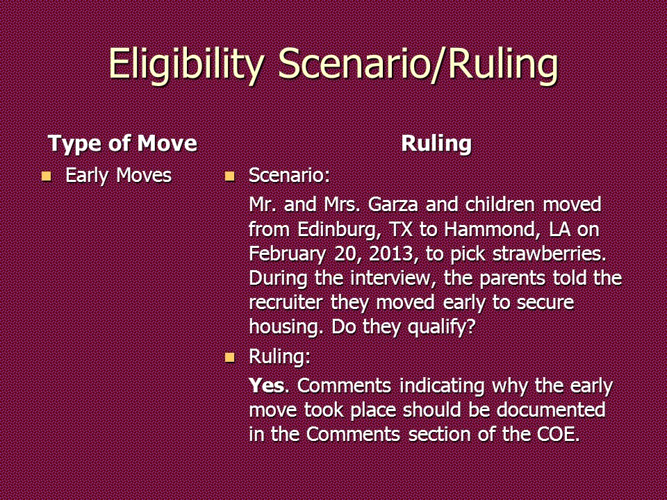 Eligibility Scenario/Ruling Type of Move Early Moves Early Moves Ruling Scenario: Scenario: Mr.