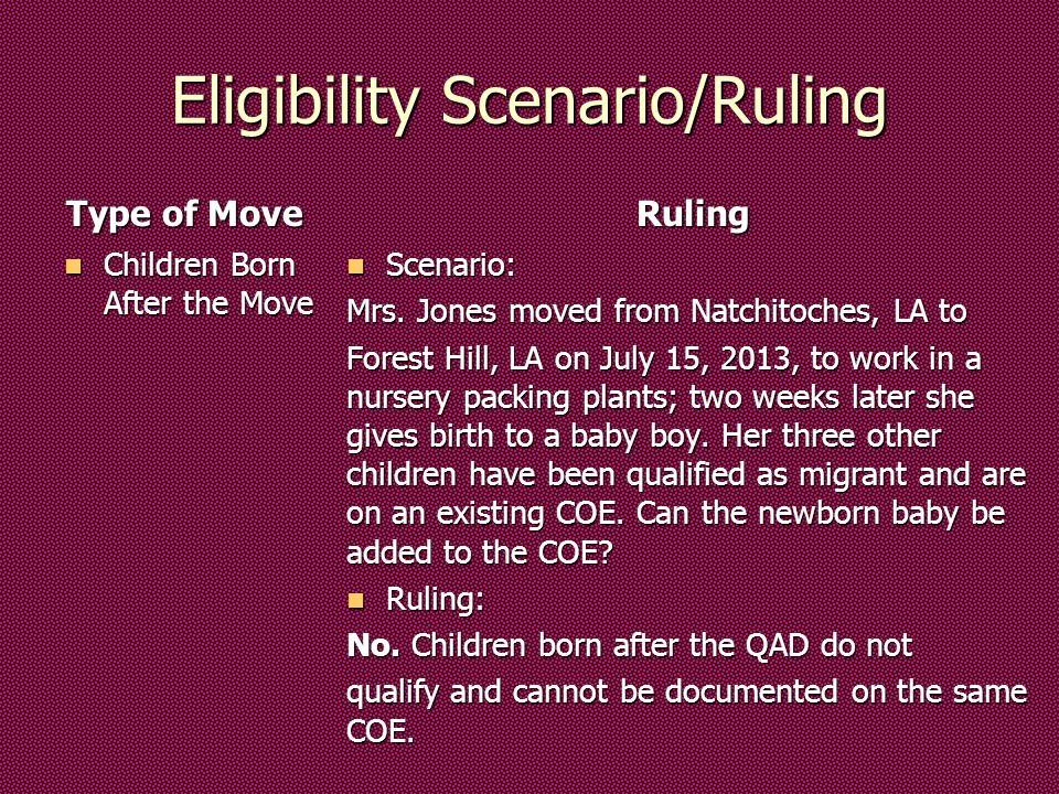 Eligibility Scenario/Ruling Type of Move Children Born After the Move Children Born After the Move Ruling Scenario: Scenario: Mrs.