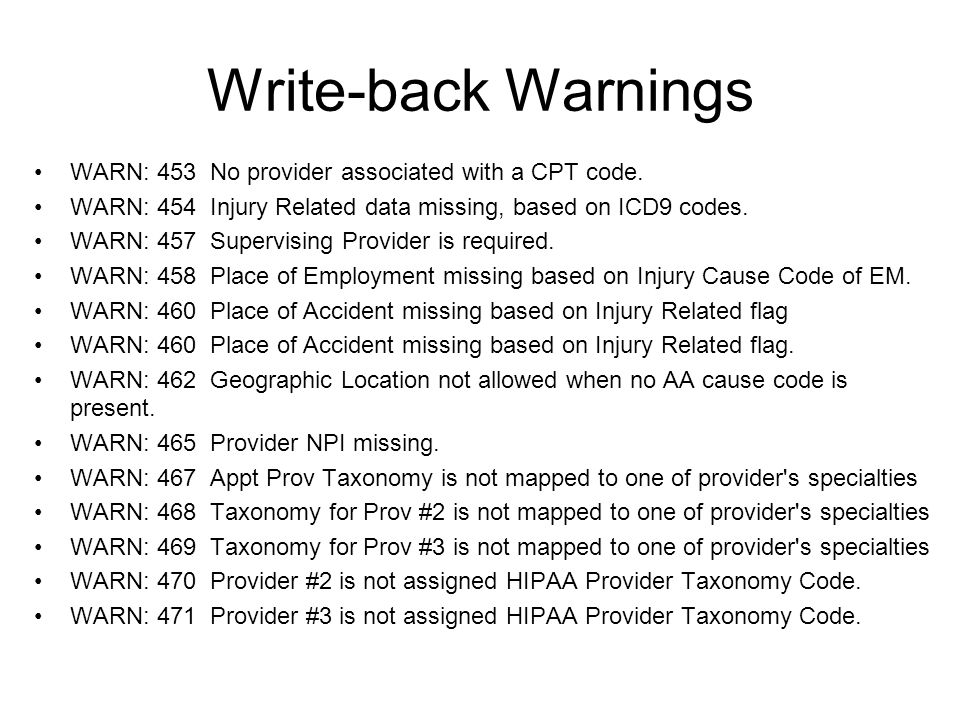 WARN: 453 No provider associated with a CPT code.