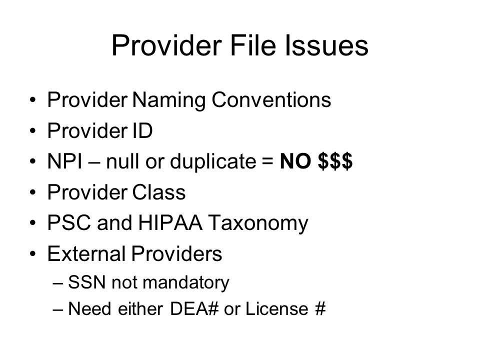 Provider File Issues Provider Naming Conventions Provider ID NPI – null or duplicate = NO $$$ Provider Class PSC and HIPAA Taxonomy External Providers –SSN not mandatory –Need either DEA# or License #