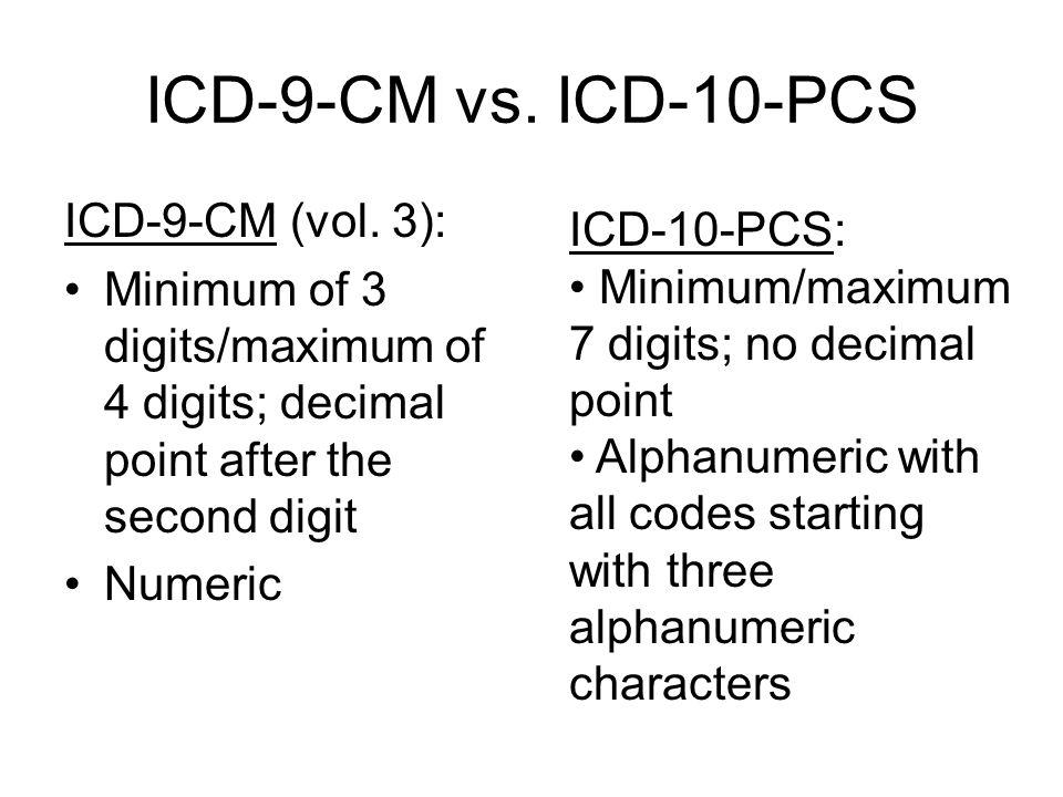 ICD-9-CM vs. ICD-10-PCS ICD-9-CM (vol.