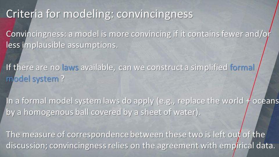 Convincingness: a model is more convincing if it contains fewer and/or less implausible assumptions.