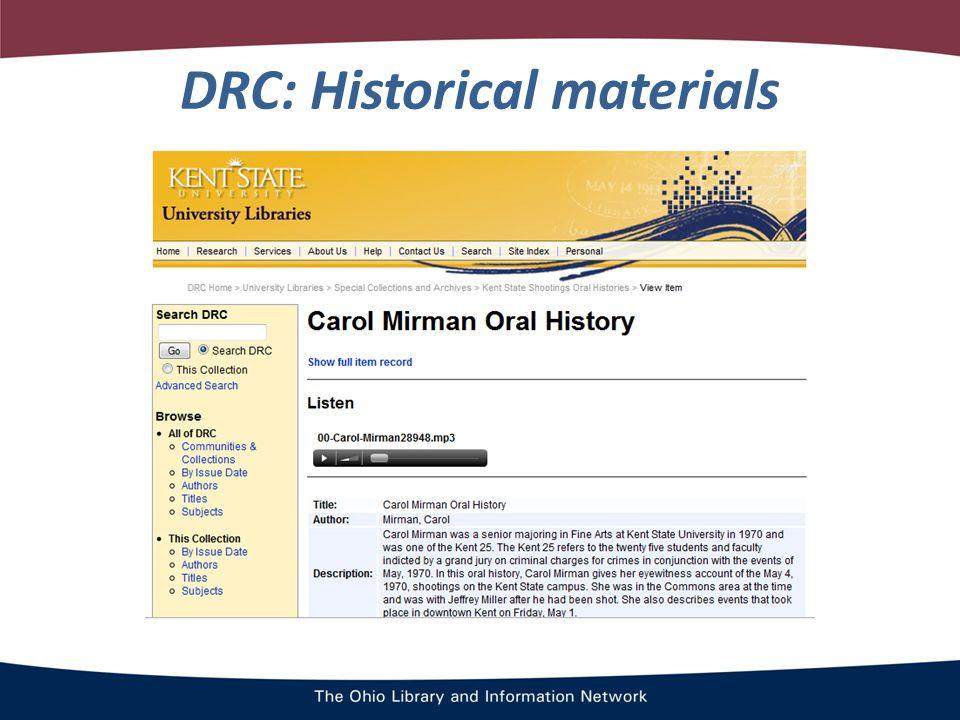 DRC: Historical materials