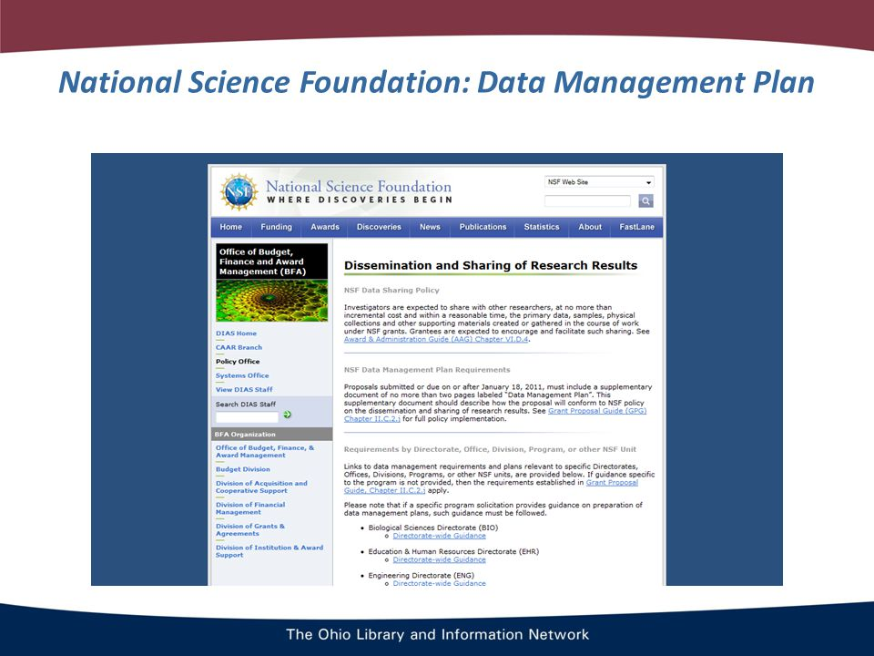 National Science Foundation: Data Management Plan