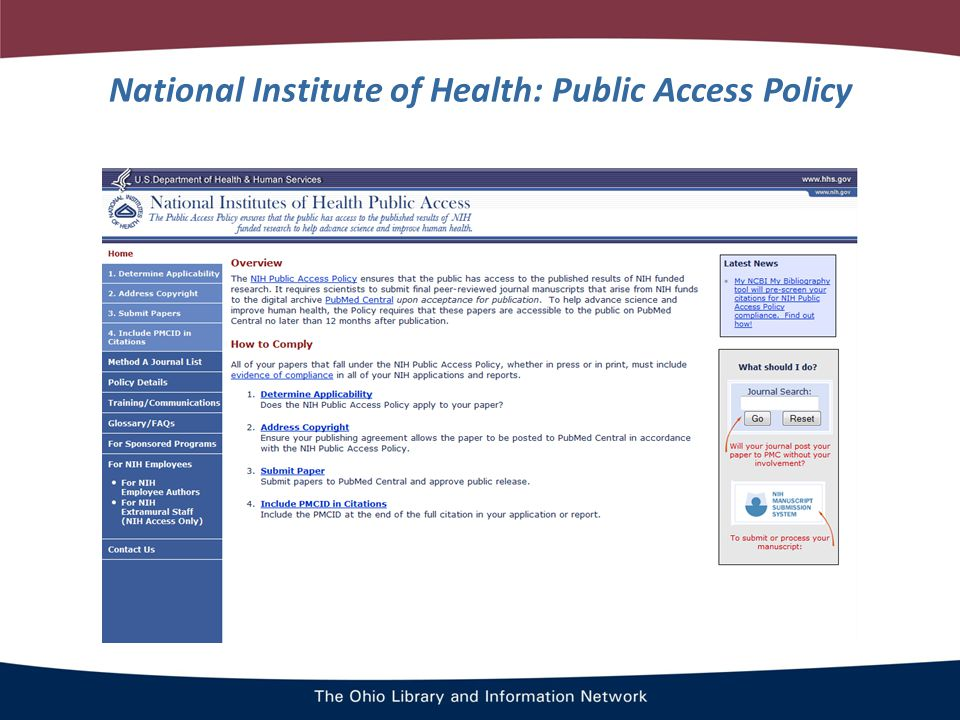 National Institute of Health: Public Access Policy