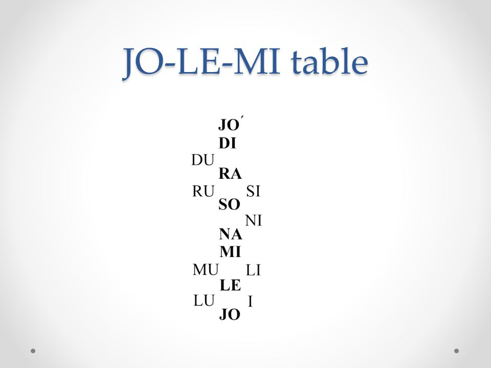 JO-LE-MI table