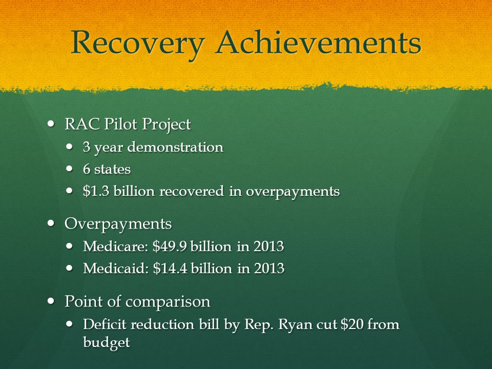Recovery Achievements RAC Pilot Project RAC Pilot Project 3 year demonstration 3 year demonstration 6 states 6 states $1.3 billion recovered in overpayments $1.3 billion recovered in overpayments Overpayments Overpayments Medicare: $49.9 billion in 2013 Medicare: $49.9 billion in 2013 Medicaid: $14.4 billion in 2013 Medicaid: $14.4 billion in 2013 Point of comparison Point of comparison Deficit reduction bill by Rep.