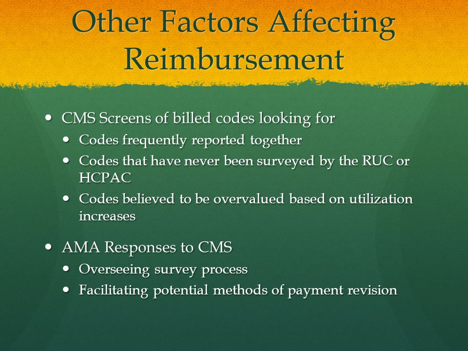 Other Factors Affecting Reimbursement CMS Screens of billed codes looking for CMS Screens of billed codes looking for Codes frequently reported together Codes frequently reported together Codes that have never been surveyed by the RUC or HCPAC Codes that have never been surveyed by the RUC or HCPAC Codes believed to be overvalued based on utilization increases Codes believed to be overvalued based on utilization increases AMA Responses to CMS AMA Responses to CMS Overseeing survey process Overseeing survey process Facilitating potential methods of payment revision Facilitating potential methods of payment revision