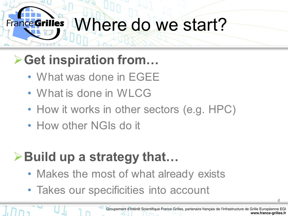 4 Where do we start?  Get inspiration from… What was done in EGEE What is done in WLCG How it works in other sectors (e.g. HPC) How other NGIs do it