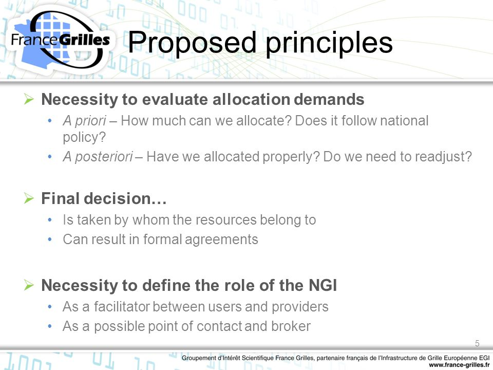 Proposed principles  Necessity to evaluate allocation demands A priori – How much can we allocate? Does it follow national policy? A posteriori – Hav