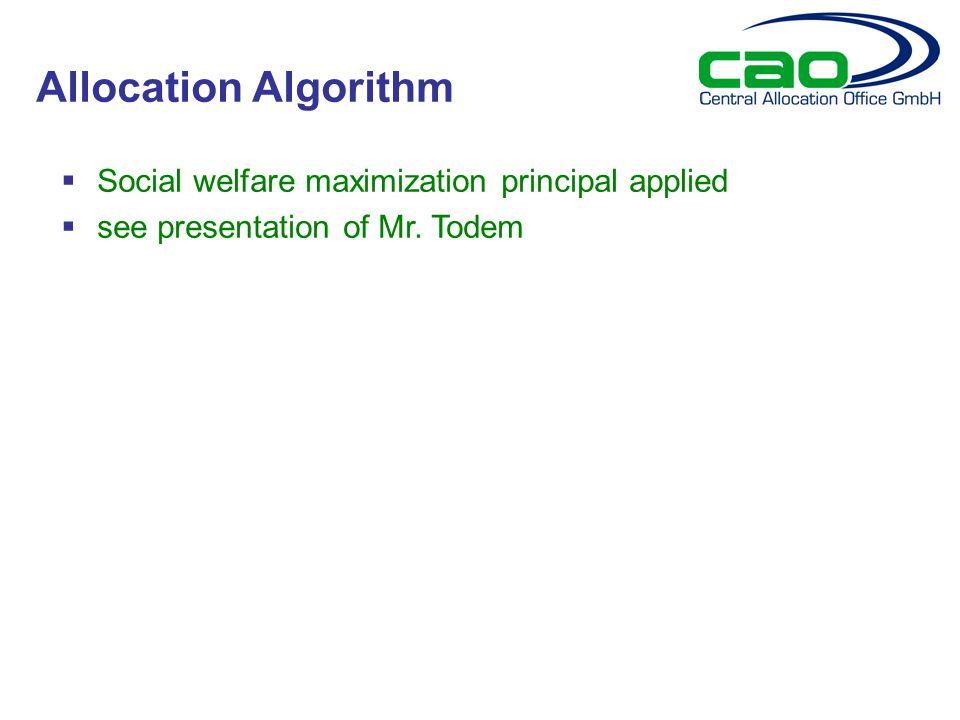  Social welfare maximization principal applied  see presentation of Mr.