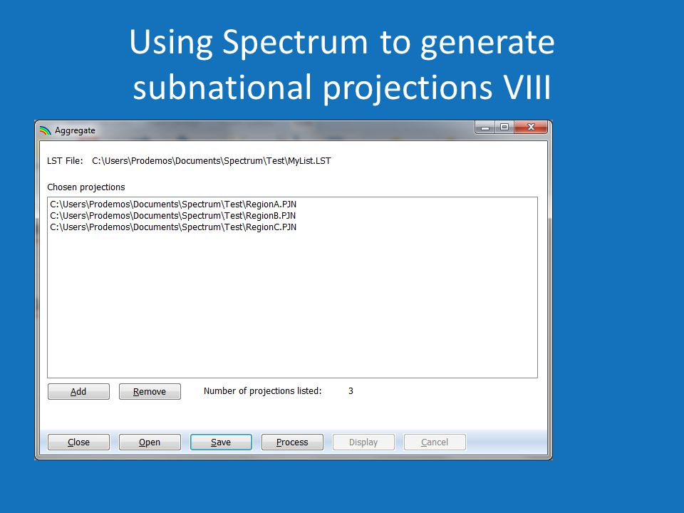 Using Spectrum to generate subnational projections VIII