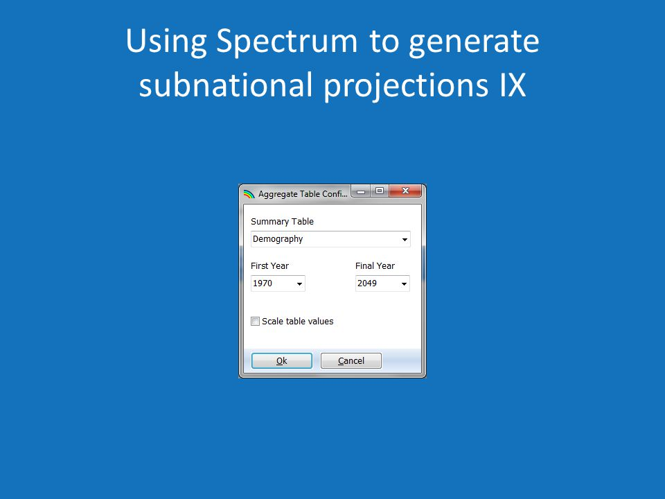 Using Spectrum to generate subnational projections IX