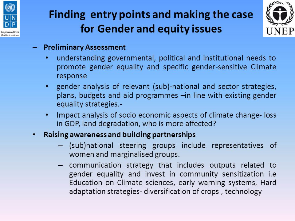 Finding entry points and making the case for Gender and equity issues – Preliminary Assessment understanding governmental, political and institutional