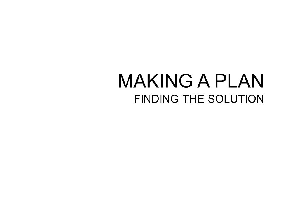 MAKING A PLAN FINDING THE SOLUTION